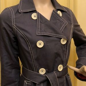 Boden dusty blue trench coat w/ stitching